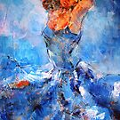 Passionate Dancer In Blue Dress – Art Prints by Ballet Dance-Artist