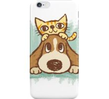 Sketch of kitten and dog iPhone Case/Skin