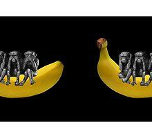 ❤‿❤ MONKEYS SIGN LANGUAGE SITTING ON BANANA MUG❤‿❤SEE NO EVIL HEAR NO EVIL SPEAK NO EVIL by ✿✿ Bonita ✿✿ ђєℓℓσ
