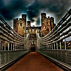 Conwy Castle Suspension Bridge by Peter Bellamy
