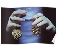 Gold pine cones Poster