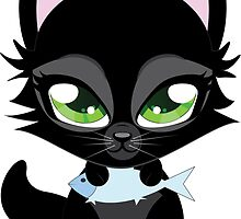 Cute cartoon black kitten with blue fish by AnnArtshock
