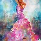 Flamenco Dancer In Pink Dress - Dance Art Gallery by Ballet Dance-Artist