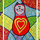 3 funky cats with golden hearts by vitbich