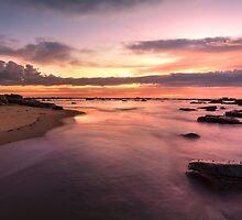 Magnificent sunrise high tide at Bateau Bay rockshelf seascape by Leah-Anne Thompson