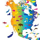 Animal Map of North America by Adam Asar
