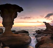 Sunrise and eroded rocks Hargraves Beach Noraville seascape by Leah-Anne Thompson