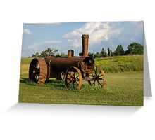 Antique And Rusty - a Vintage Iron Tractor on a Farm Greeting Card