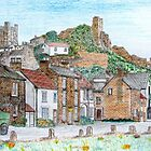 Graphite and Coloured Pencil Drawing of  Richmond, Yorkshire - all products bar duvet by Dennis Melling