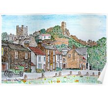 Graphite and Coloured Pencil Drawing of  Richmond, Yorkshire - all products bar duvet Poster