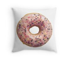 Isolated Pastel Pink Donut Throw Pillow
