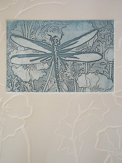 Etching Solar Plate: Blue dragonfly by Marion Chapman