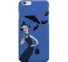 Weird woman with midnight bats iPhone Case/Skin