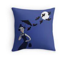 Weird woman with midnight bats Throw Pillow