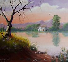 Across the Water - Painting by SharonD