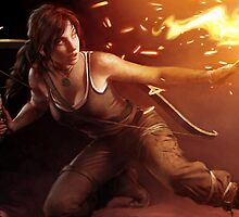 Tomb Raider - Lara Croft on Fire by ghoststorm
