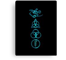 NEW DESIGN - Ancient Pagan Symbols (V) - Shiny Teal Canvas Print