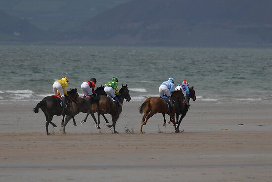 Horse racing on the beach  by Gerard  Horan