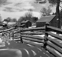 Snowfall Along the Fence Line Sturbridge MA by halnormank