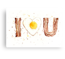 Bacon and Egg I Heart You Canvas Print