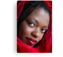 Girl in a Red Scarf Canvas Print