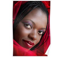 Girl in a Red Scarf Poster