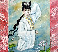 Lady White Snake rising from the lake by Fiona O'Beirne
