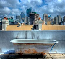 Old Bathtub on Rooftop - Darlinghurst, Sydney, Australia by Mark Richards