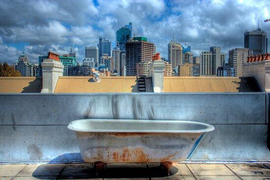 Old Bathtub on Rooftop - Darlinghurst, Sydney, Australia by Mark Richards