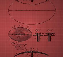 Football Patent Drawing From 1903 - Burgundy by chris2766