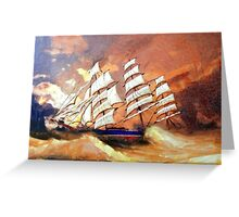A digital painting of Cutty Sark in Heavy Seas - all products Greeting Card