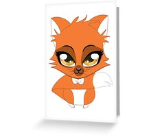 Cute cartoon little red fox Greeting Card