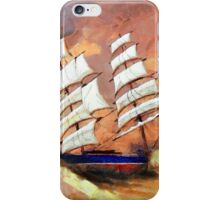A digital painting of Cutty Sark in Heavy Seas - all products iPhone Case/Skin
