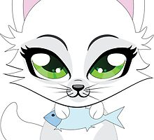 Cute cartoon little white kitten holds fish by AnnArtshock
