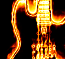 Electronic guitar in flames Sticker