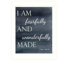 Psalm 139:14 Watercolor Art Print