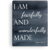Psalm 139:14 Watercolor Canvas Print
