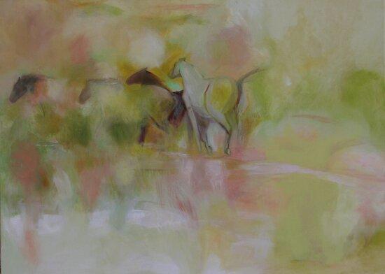horses in mist by sophia burns