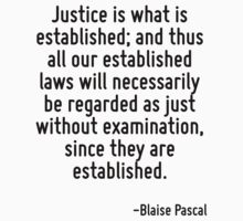 Justice is what is established; and thus all our established laws will necessarily be regarded as just without examination, since they are established. by Quotr