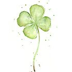 Four Leaf Clover Watercolor by OlechkaDesign