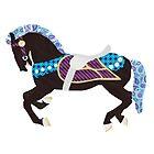 Black and Teal Carousel Horse by chaitea4