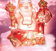 Laughing Buddha Sitting On Cloud by Buddhan