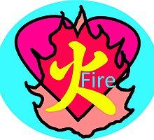 japanese Fire Kanji Heart by Nesta125