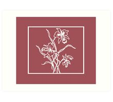 Marsala and White Floral Pattern Art Print