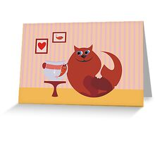 cat and fish in love Greeting Card