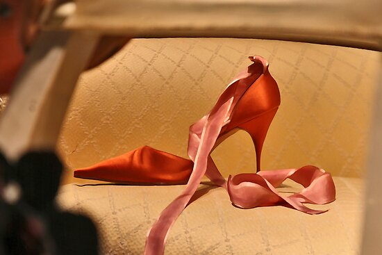 Red Slipper with Pink Ribbon by Mark Ross