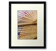 Oriental wooden fan Framed Print