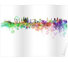 London skyline in watercolor on white background Poster
