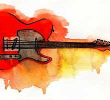 Watercolor guitar by ulyanaandreeva
