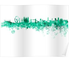 London skyline in green watercolor on white background Poster